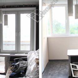 Балкон до объединения с кухней и после