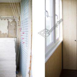 отделка лоджии пластиковыми панелями, остекление теплыми окнами, замена напольного покрытия