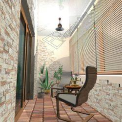 декоративная плитка под кирпич на балконе